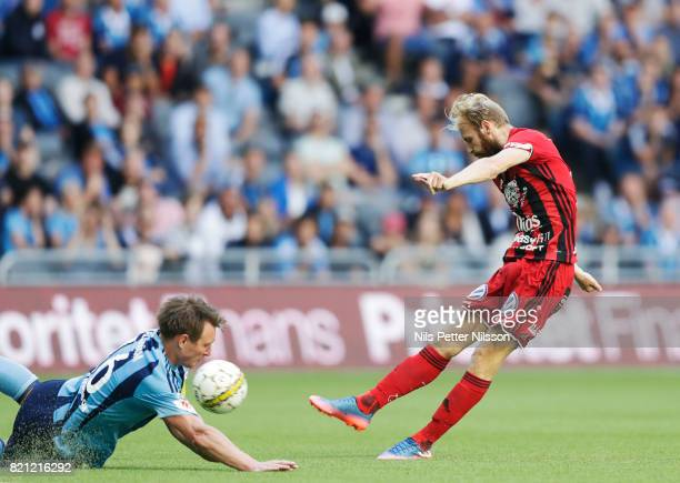 Curtis Edwards of Ostersunds FK shoots during the Allsvenskan match between Djurgardens IF and Ostersunds FK at Tele2 Arena on July 23 2017 in...
