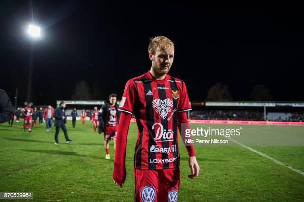 Curtis Edwards of Ostersunds FK walks off the pitch after the Allsvenskan match between Jonkopings Sodra IF and Ostersunds FK at Stadsparksvallen on...