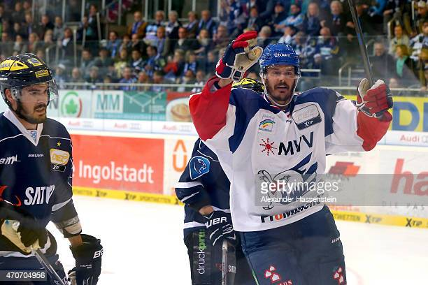Curtis Foster of Mannheim celebrates scoring the first goal during the DEL Playoffs Final Game 6 between ERC Ingolstadt and Adler Mannheim at Saturn...