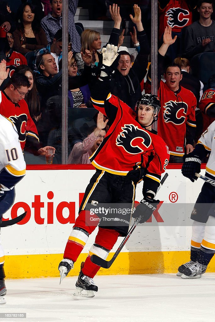<a gi-track='captionPersonalityLinkClicked' href=/galleries/search?phrase=Curtis+Glencross&family=editorial&specificpeople=2190970 ng-click='$event.stopPropagation()'>Curtis Glencross</a> #20 of the Calgary celebrates a goal against the Nashville Predators on March 15, 2013 at the Scotiabank Saddledome in Calgary, Alberta, Canada.