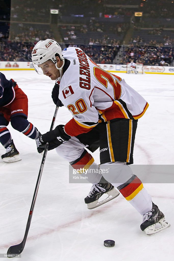 Curtis Glencross #20 of the Calgary Flames controls the puck during the game against the Columbus Blue Jackets on March 22, 2013 at Nationwide Arena in Columbus, Ohio.