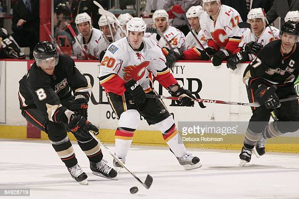 Curtis Glencross of the Calgary Flames defends against Teemu Selanne of the Anaheim Ducks during the game on February 11 2009 at Honda Center in...