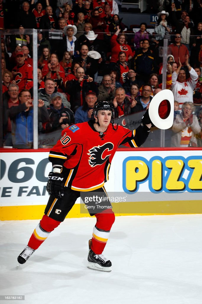 <a gi-track='captionPersonalityLinkClicked' href=/galleries/search?phrase=Curtis+Glencross&family=editorial&specificpeople=2190970 ng-click='$event.stopPropagation()'>Curtis Glencross</a> #20 of the Calgary Flames is named first star of the night after the game against the Nashville Predators on March 15, 2013 at the Scotiabank Saddledome in Calgary, Alberta, Canada.