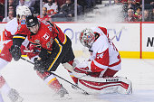 Curtis Glencross of the Calgary Flames takes a shot on Petr Mrazek of the Detroit Red Wings during an NHL game at Scotiabank Saddledome on January 7...