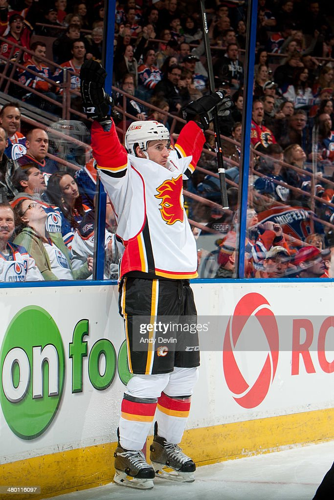 <a gi-track='captionPersonalityLinkClicked' href=/galleries/search?phrase=Curtis+Glencross&family=editorial&specificpeople=2190970 ng-click='$event.stopPropagation()'>Curtis Glencross</a> #20 of the Edmonton Oilers celebrates after scoring a goal in a game against the Edmonton Oilers on March 22, 2014 at Rexall Place in Edmonton, Alberta, Canada.