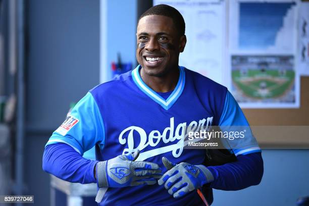 Curtis Granderson of the Los Angeles Dodgers smiles during the game against the Milwaukee Brewers at Dodger Stadium on August 26 2017 in Los Angeles...