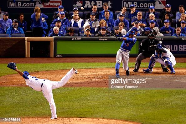 Curtis Granderson of the New York Mets hits a solo home run in the fifth inning against the Kansas City Royals during Game One of the 2015 World...