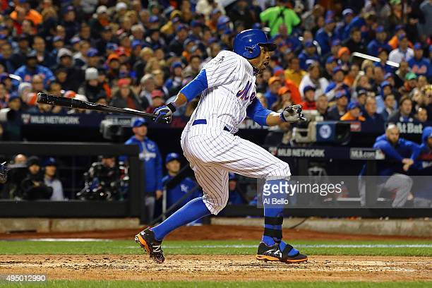 Curtis Granderson of the New York Mets hits a two run home run in the third inning against the Kansas City Royals during Game Three of the 2015 World...