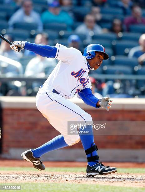 Curtis Granderson of the New York Mets in action against the Washington Nationals at Citi Field on April 3 2014 in the Flushing neighborhood of the...