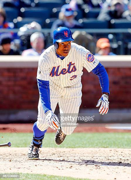 Curtis Granderson of the New York Mets in action against the Washington Nationals during their Opening Day game at Citi Field on March 31 2014 in the...