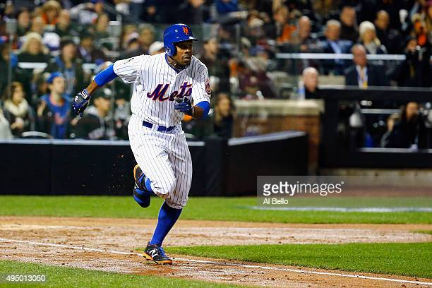 Curtis Granderson of the New York Mets runs up the line after hitting a two run home run in the third inning against the Kansas City Royals during...