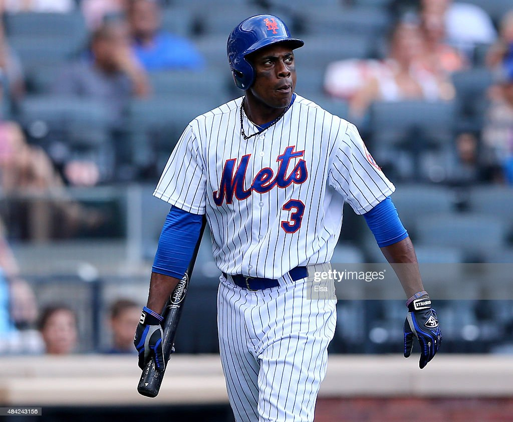 Curtis Granderson #3 of the New York Mets strikes out in the seventh inning against the Pittsburgh Pirates on August 16, 2015 at Citi Field in the Flushing neighborhood of the Queens borough of New York City.The Pittsburgh Pirates defeated the New York Mets 8-1.