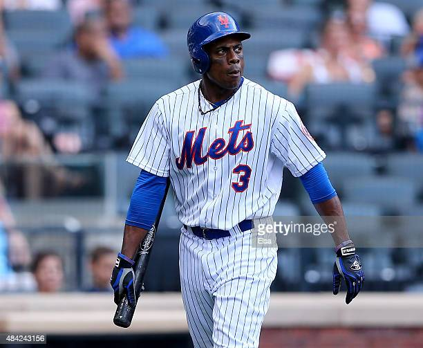 Curtis Granderson of the New York Mets strikes out in the seventh inning against the Pittsburgh Pirates on August 16 2015 at Citi Field in the...