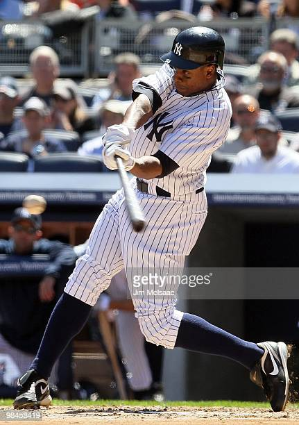 Curtis Granderson of the New York Yankees bats against the Los Angeles Angels of Anaheim on April 14 2010 at Yankee Stadium in the Bronx borough of...