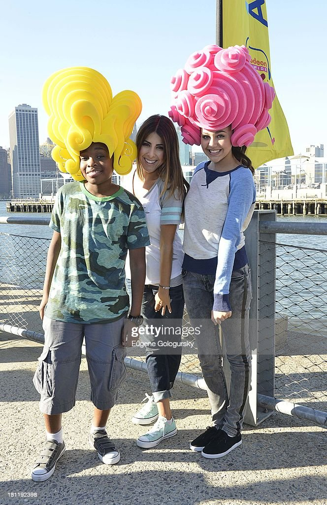 Curtis Harris Jr. and Amber Montana attend the Nickelodeon And Brooklyn Bridge Park Host Mini-Triathlon on September 19, 2013 in New York City.
