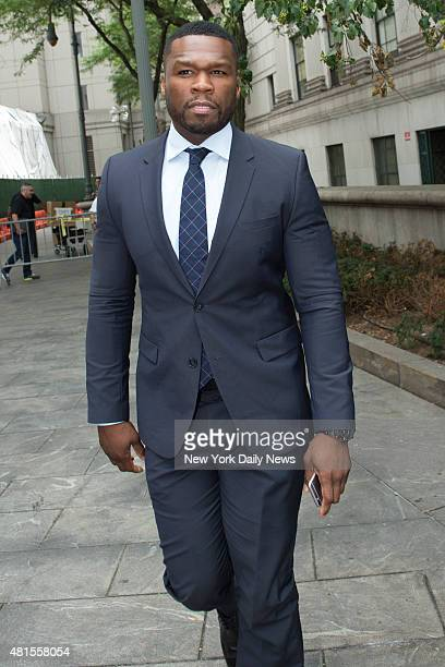 Curtis Jackson aka 50 Cent leaving Manhattan Supreme Court on Tuesday July 21 2015 He was testifying in a lawsuit for a sex tape he allegedly posted...