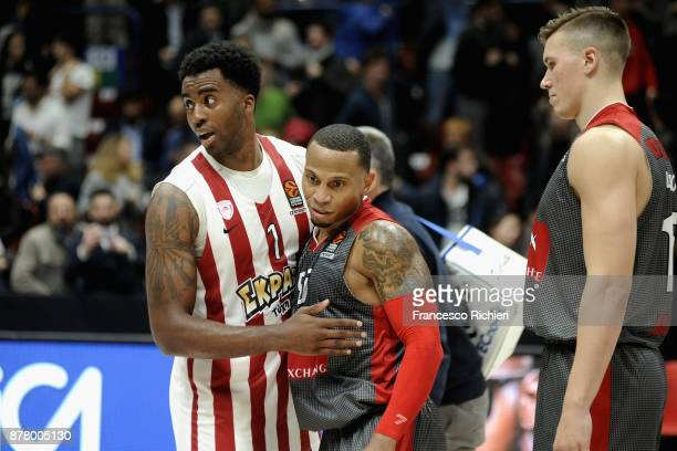 Curtis Jerrells #55 of AX Armani Exchange Olimpia Milan and Jamel McLean #1 of Olympiacos Piraeus greetings each other at the end of 2017/2018...