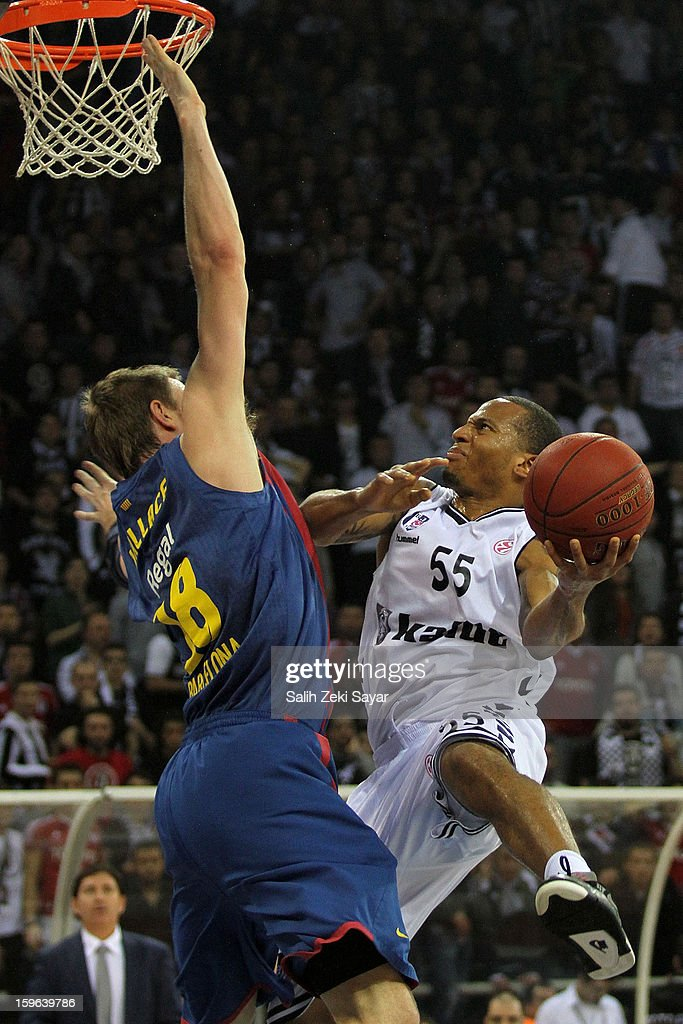Curtis Jerrells #55 of Besiktas JK Istanbul competes with C.J. Wallace #18 of FC Barcelona Regal during the 2012-2013 Turkish Airlines Euroleague Top 16 Date 4 between Besiktas JK Istanbul v FC Barcelona Regal at Abdi Ipekci Sports Arena on January 17, 2013 in Istanbul, Turkey.