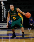 Curtis Jerrells of the Baylor Bears brings the ball up court against the Kansas State Wildcats on January 21 2009 at Bramlage Coliseum in Manhattan...
