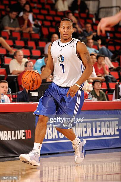 Curtis Jerrells of the Dallas Mavericks brings the ball up court during the game against the Houston Rockets during NBA Summer League presented by EA...