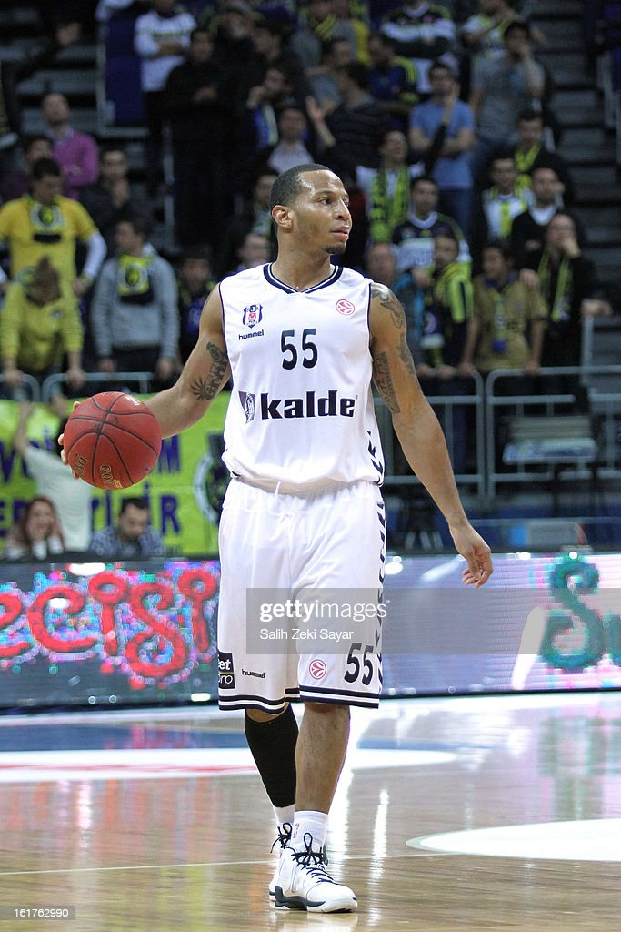 Curtis Jerrels #55 of Besiktas JK Istanbul in action during the 2012-2013 Turkish Airlines Euroleague Top 16 Date 7 between Fenerbahce Ulker Istanbul v Besiktas JK Istanbul at Fenerbahce Ulker Sports Arena on February 15, 2013 in Istanbul, Turkey.