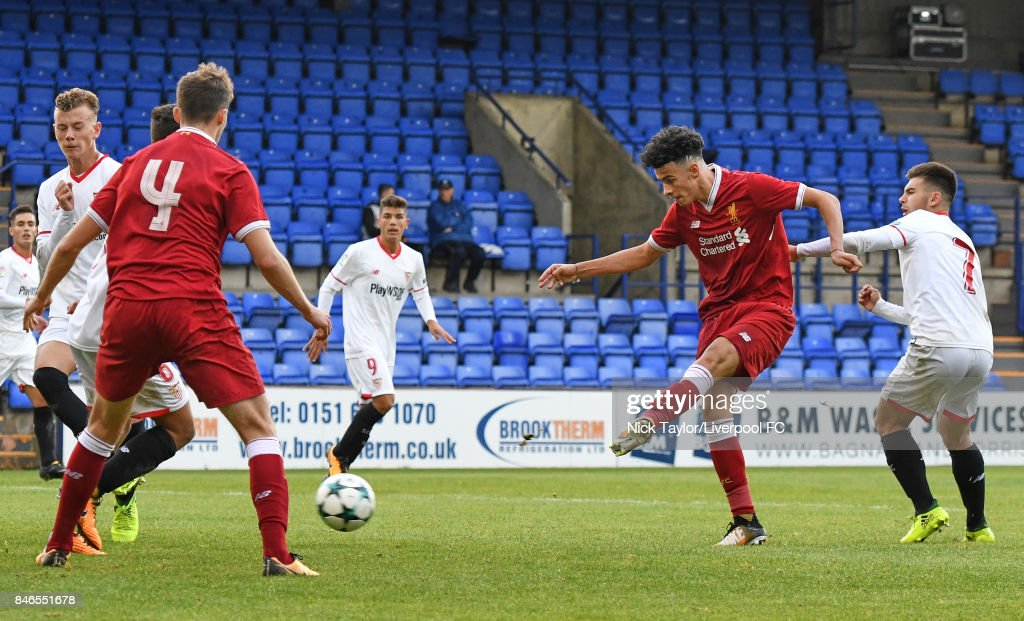 Curtis Jones of Liverpool scores the third goal for Liverpool during the UEFA Champions League group E match between Liverpool FC and Sevilla FC at Prenton Park on September 13, 2017 in Birkenhead, United Kingdom.