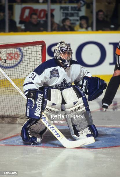 Curtis Joseph of the Toronto Maple Leafs defends the net against the Chicago Blackhawks in the final game at Maple Leaf Gardens on February 13 1999...