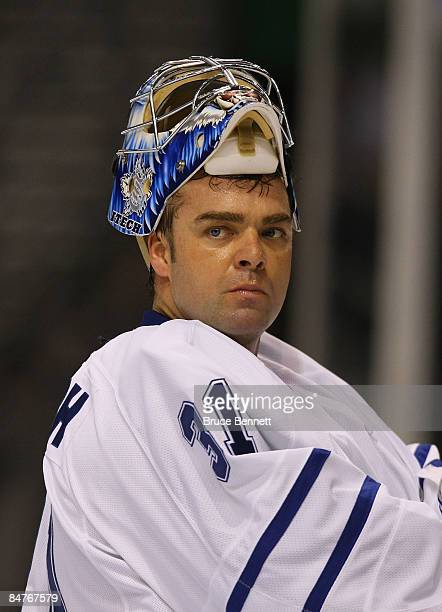 Curtis Joseph of the Toronto Maple Leafs takes a break in the action against the Tampa Bay Lightning on February 12 2009 at the St Pete Times Forum...