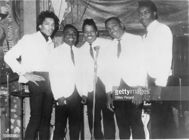 Curtis Knight And The Squires LR Jimi Hendrix unknown Curtis Knight Lonnie Youngblood and Ace Hall pose for a group portrait in 1966 in the United...