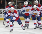 Curtis Lazar and his Edmonton Oil Kings teammates celebrate a goal against the Val'Dor Foreurs in Game Five of the 2014 MasterCard Memorial Cup at...