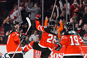 Curtis Lazar of Team Canada celebrates his goal during the 2015 IIHF World Junior Hockey Championship game against Team Finland at the Bell Centre on...