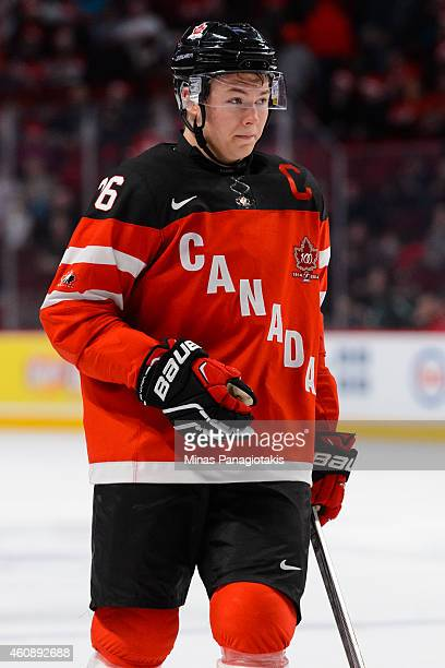 Curtis Lazar of Team Canada looks on during the 2015 IIHF World Junior Hockey Championship game against Team Slovakia at the Bell Centre on December...