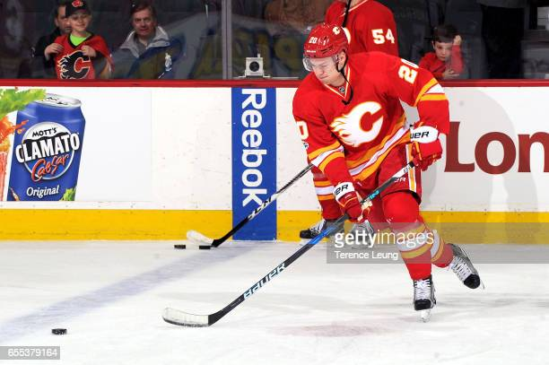 Curtis Lazar of the Calgary Flames skates in the warmups before an NHL game against the Los Angeles Kings on March 19 2017 at the Scotiabank...