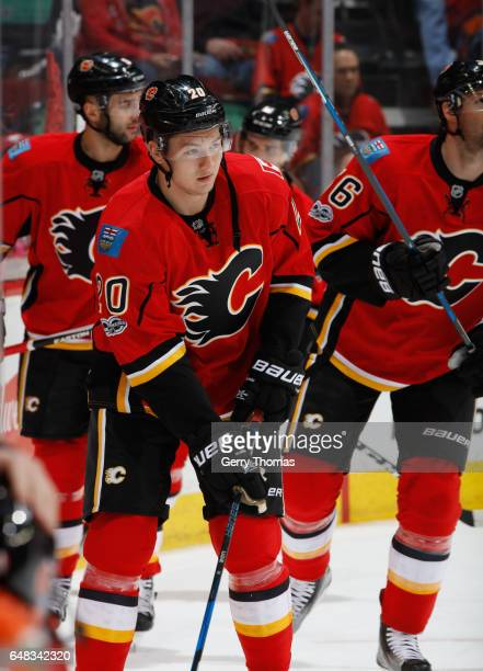 Curtis Lazar of the Calgary Flames skates in warm up prior to the game against the New York Islanders at Scotiabank Saddledome on March 5 2017 in...
