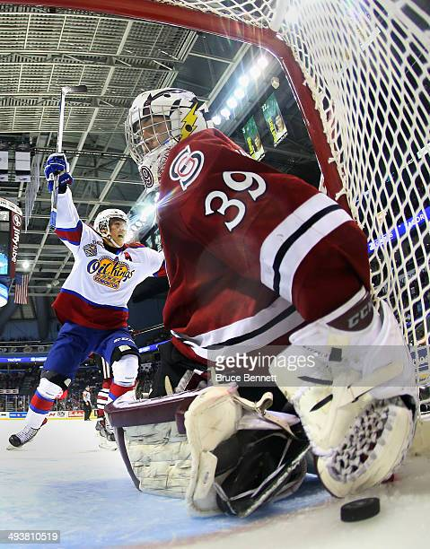 Curtis Lazar of the Edmonton Oil Kings celebrates a goal by Edgars Kulda at 606 of the second period against Justin Nichols of the Guelph Storm...