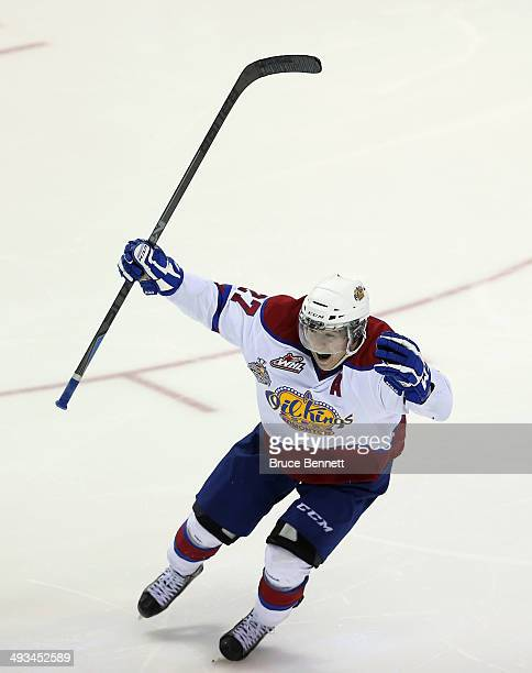 Curtis Lazar of the Edmonton Oil Kings celebrates his game winning goal at 242 of the third overtime against the Vald'Or Foreurs during the 2014...