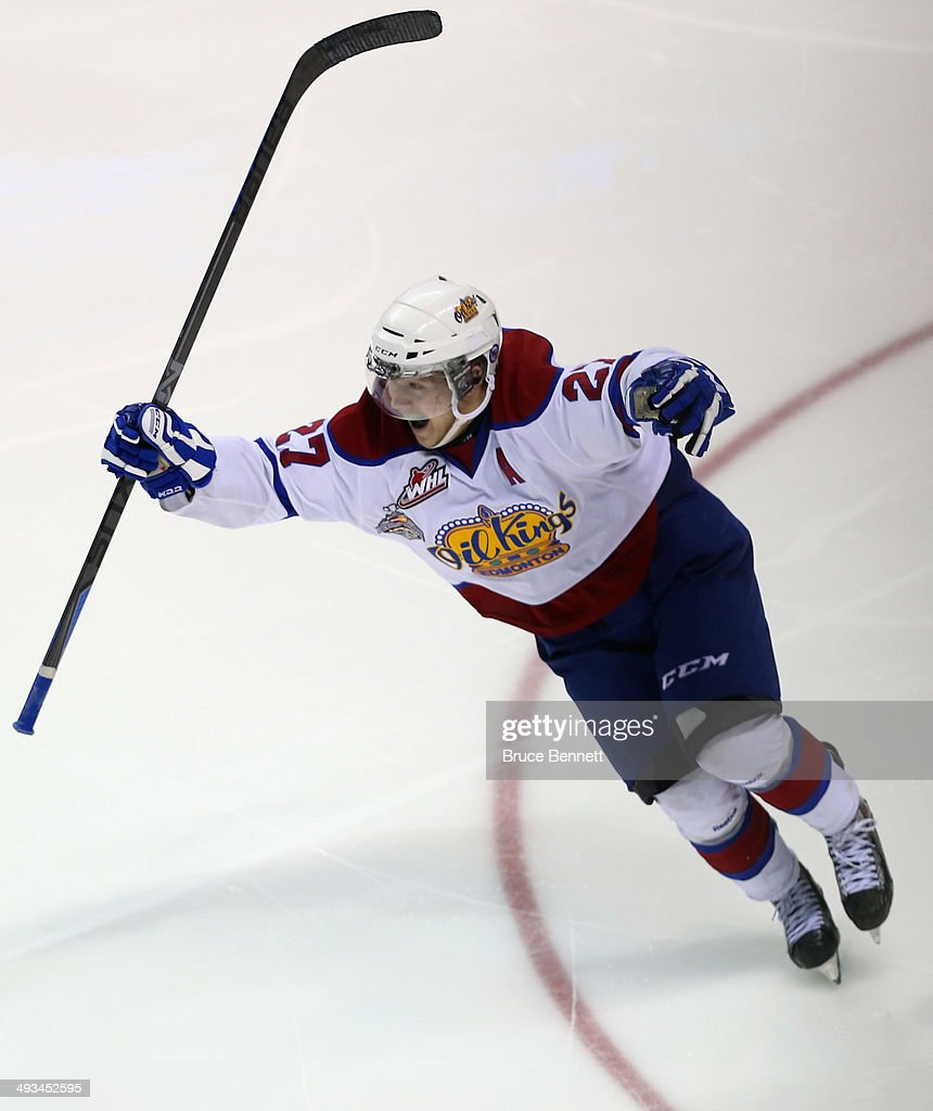 Curtis Lazar #27 of the Edmonton Oil Kings celebrates his game winning goal at 2:42 of the third overtime against the Val-d'Or Foreurs during the 2014 Memorial Cup tournament at Budweiser Gardens on May 23, 2014 in London, Ontario, Canada.