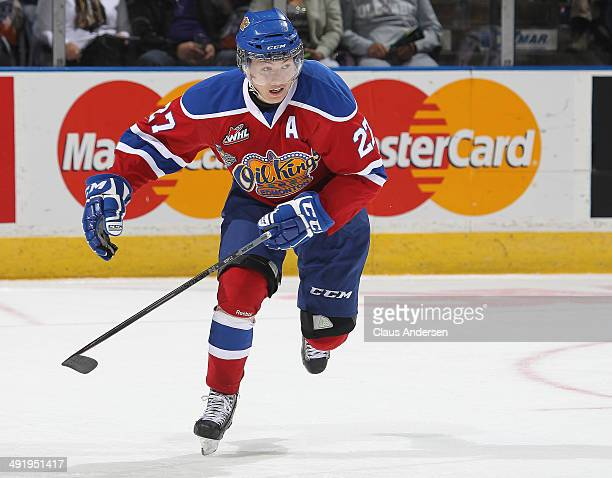 Curtis Lazar of the Edmonton Oil Kings skates against the Guelph Storm in Game Two of the 2014 Mastercard Memorial Cup at Budweiser Gardens on May 17...