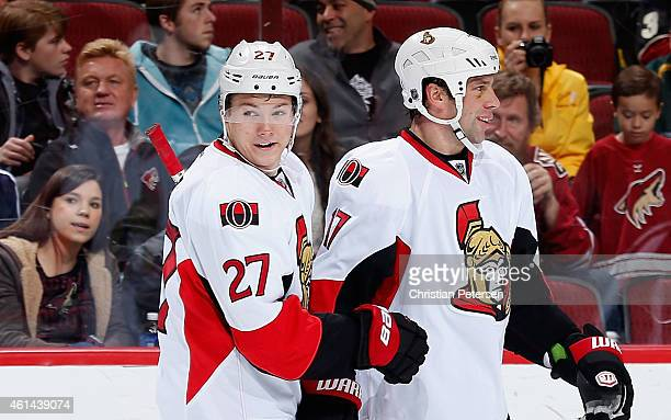 Curtis Lazar of the Ottawa Senators during the NHL game against the Arizona Coyotes at Gila River Arena on January 10 2015 in Glendale Arizona The...