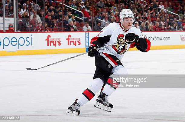 Curtis Lazar of the Ottawa Senators in action during the NHL game against the Arizona Coyotes at Gila River Arena on January 10 2015 in Glendale...