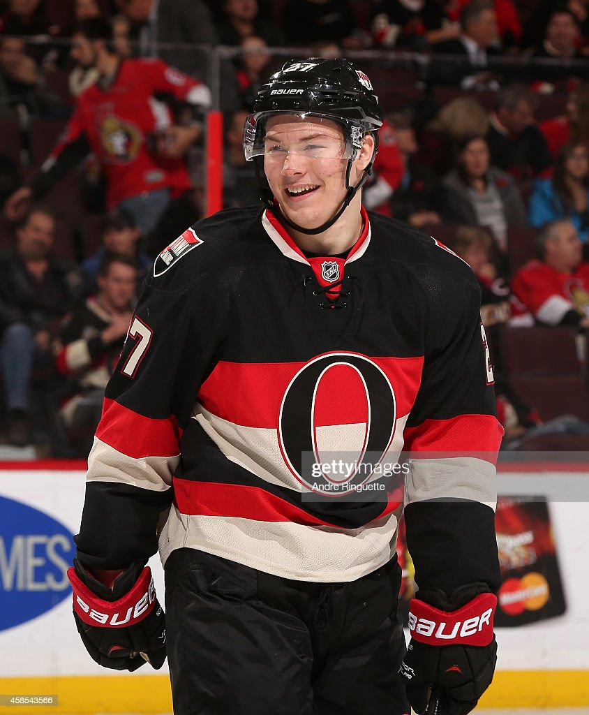 <a gi-track='captionPersonalityLinkClicked' href=/galleries/search?phrase=Curtis+Lazar&family=editorial&specificpeople=8636170 ng-click='$event.stopPropagation()'>Curtis Lazar</a> #27 of the Ottawa Senators laughs off a disallowed goal against the Minnesota Wild that would have been the first of his NHL career at Canadian Tire Centre on November 6, 2014 in Ottawa, Ontario, Canada.