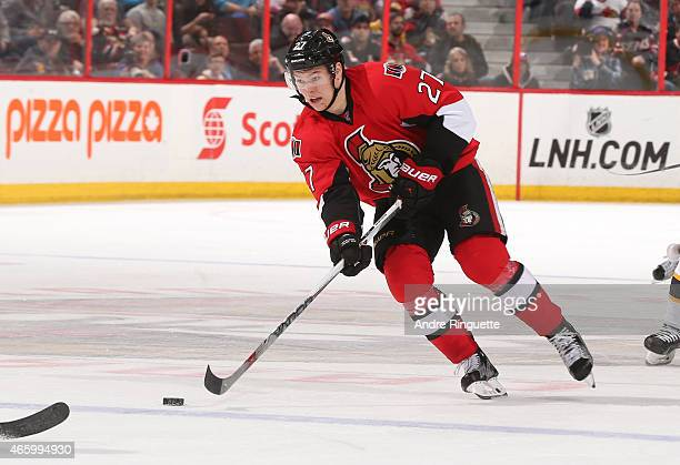 Curtis Lazar of the Ottawa Senators skates against the Boston Bruins at Canadian Tire Centre on March 10 2015 in Ottawa Ontario Canada