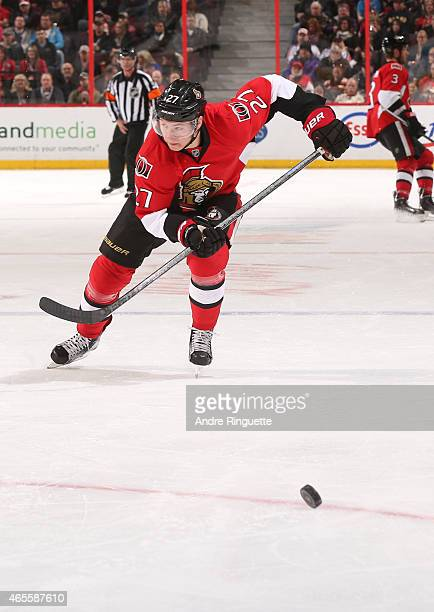 Curtis Lazar of the Ottawa Senators skates against the Buffalo Sabres at Canadian Tire Centre on March 6 2015 in Ottawa Ontario Canada