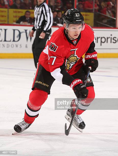 Curtis Lazar of the Ottawa Senators skates against the Calgary Flames at Canadian Tire Centre on March 8 2015 in Ottawa Ontario Canada