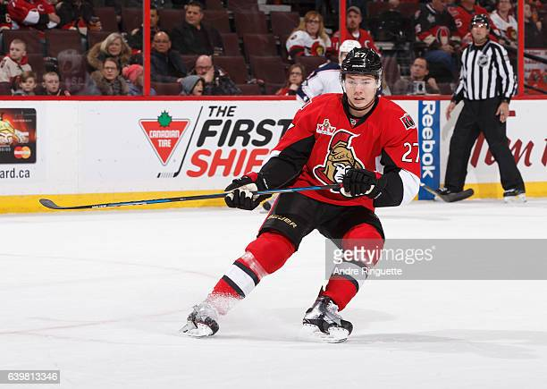 Curtis Lazar of the Ottawa Senators skates against the Columbus Blue Jackets at Canadian Tire Centre on January 22 2017 in Ottawa Ontario Canada