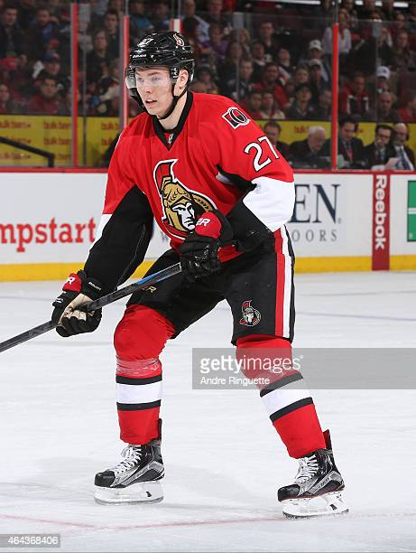 Curtis Lazar of the Ottawa Senators skates against the Florida Panthers at Canadian Tire Centre on February 21 2015 in Ottawa Ontario Canada