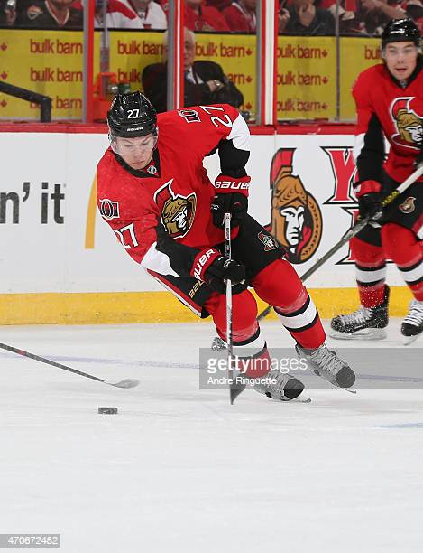 Curtis Lazar of the Ottawa Senators skates against the Montreal Canadiens in Game Three of the Eastern Conference Quarterfinals during the 2015 NHL...