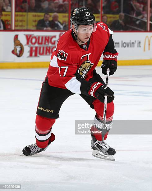 Curtis Lazar of the Ottawa Senators skates against the Montreal Canadiens in Game Four of the Eastern Conference Quarterfinals during the 2015 NHL...