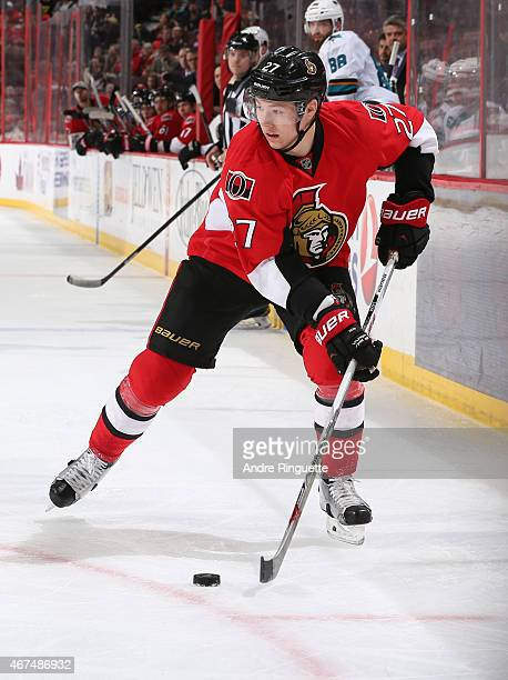 Curtis Lazar of the Ottawa Senators skates against the San Jose Sharks at Canadian Tire Centre on March 23 2015 in Ottawa Ontario Canada