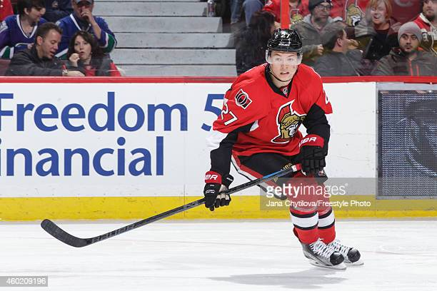 Curtis Lazar of the Ottawa Senators skates against the Vancouver Canucks during an NHL game at Canadian Tire Centre on December 7 2014 in Ottawa...